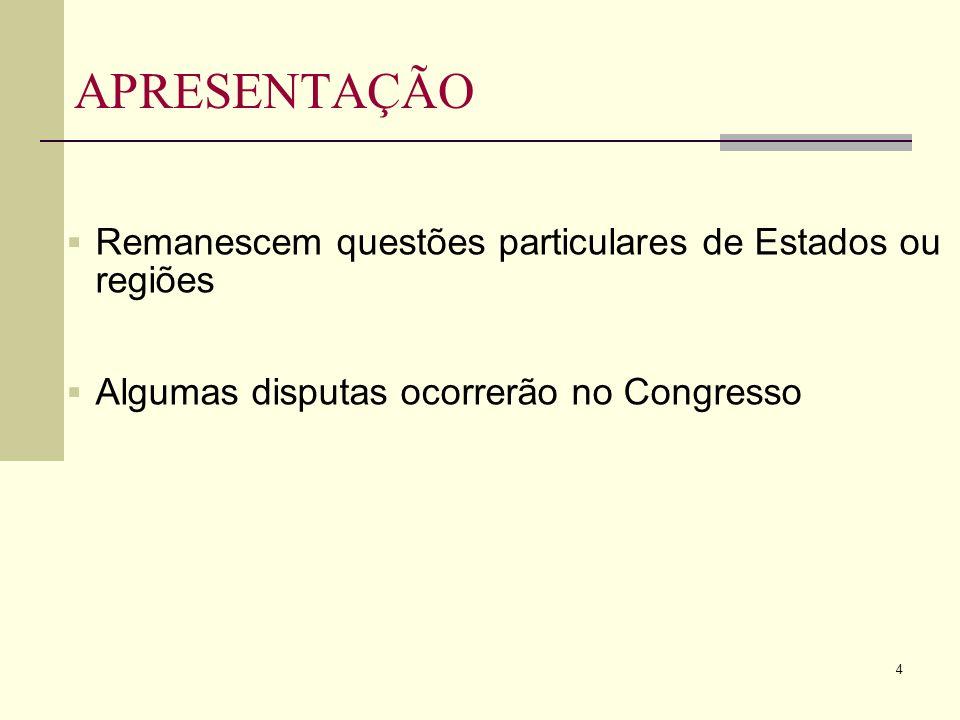 4 APRESENTAÇÃO Remanescem questões particulares de Estados ou regiões Algumas disputas ocorrerão no Congresso