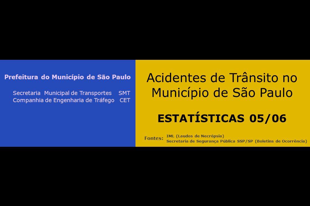 Acidentes de Trânsito no Município de São Paulo ESTATÍSTICAS 05/06 Prefeitura do Município de São Paulo Secretaria Municipal de Transportes SMT Companhia de Engenharia de Tráfego CET IML (Laudos de Necrópsia) Secretaria de Segurança Pública SSP/SP (Boletins de Ocorrência) Fontes: