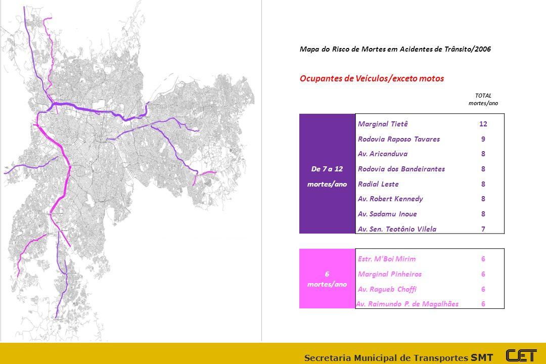 Secretaria Municipal de Transportes SMT Mapa do Risco de Mortes em Acidentes de Trânsito/2006 Ocupantes de Veículos/exceto motos TOTAL mortes/ano Marginal Tietê 12 Rodovia Raposo Tavares9 Av.