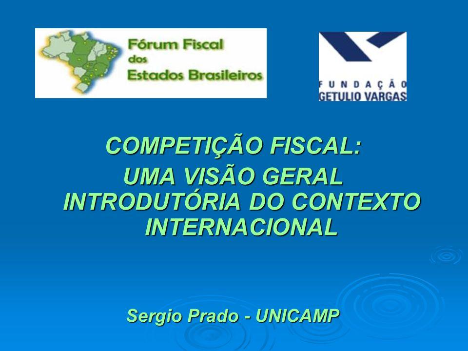 COMPETIÇÃO FISCAL: UMA VISÃO GERAL INTRODUTÓRIA DO CONTEXTO INTERNACIONAL Sergio Prado - UNICAMP