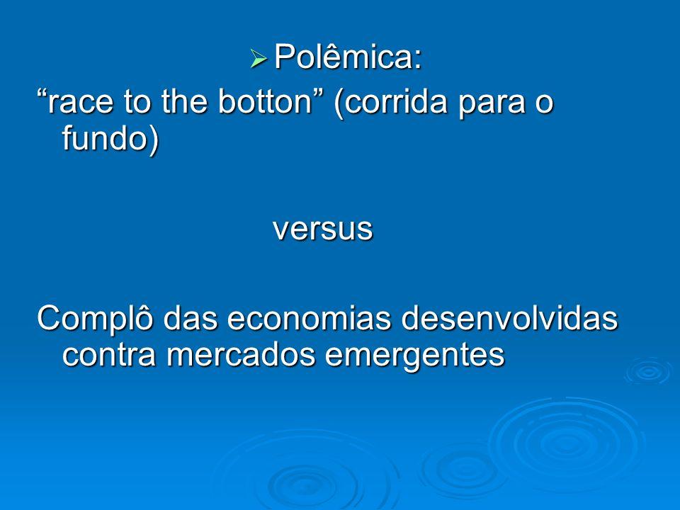 Polêmica: Polêmica: race to the botton (corrida para o fundo) versus versus Complô das economias desenvolvidas contra mercados emergentes
