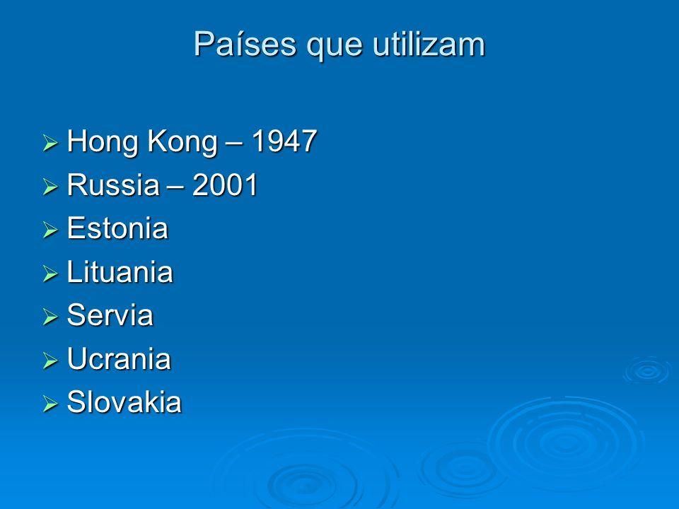 Países que utilizam Hong Kong – 1947 Hong Kong – 1947 Russia – 2001 Russia – 2001 Estonia Estonia Lituania Lituania Servia Servia Ucrania Ucrania Slov
