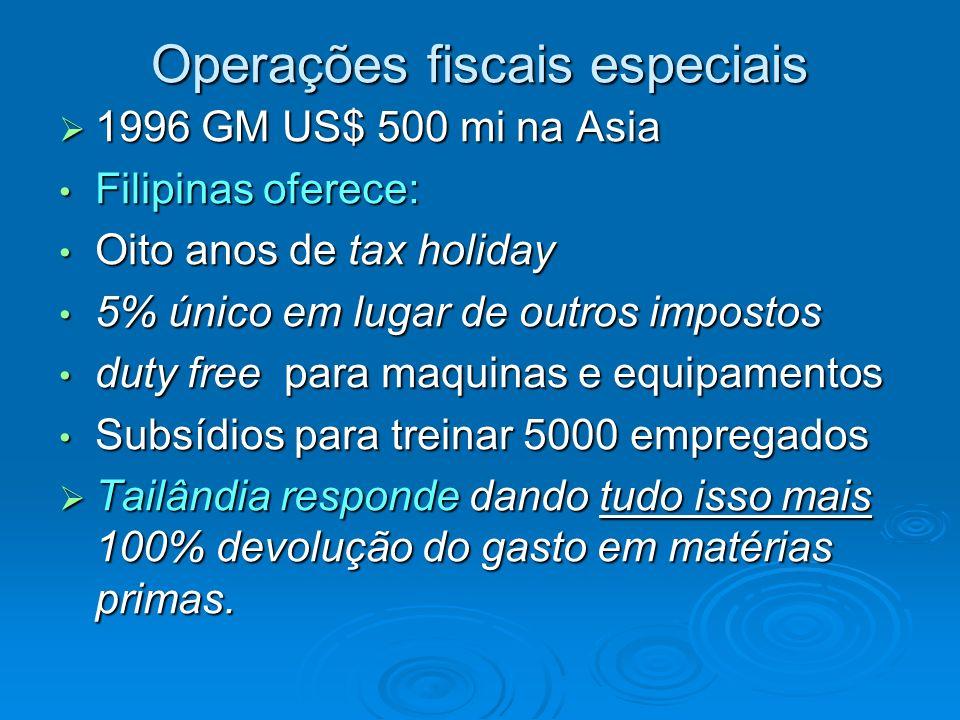 Operações fiscais especiais 1996 GM US$ 500 mi na Asia 1996 GM US$ 500 mi na Asia Filipinas oferece: Filipinas oferece: Oito anos de tax holiday Oito