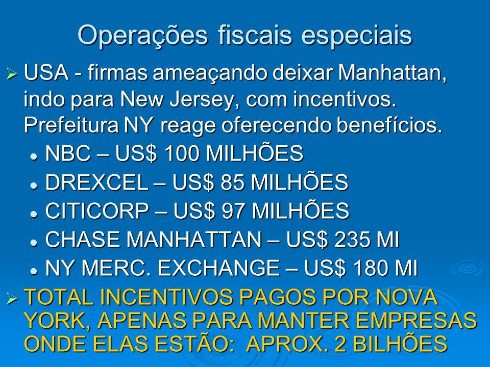 Operações fiscais especiais USA - firmas ameaçando deixar Manhattan, indo para New Jersey, com incentivos. Prefeitura NY reage oferecendo benefícios.
