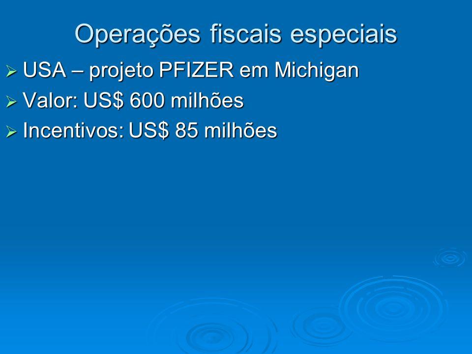Operações fiscais especiais USA – projeto PFIZER em Michigan USA – projeto PFIZER em Michigan Valor: US$ 600 milhões Valor: US$ 600 milhões Incentivos