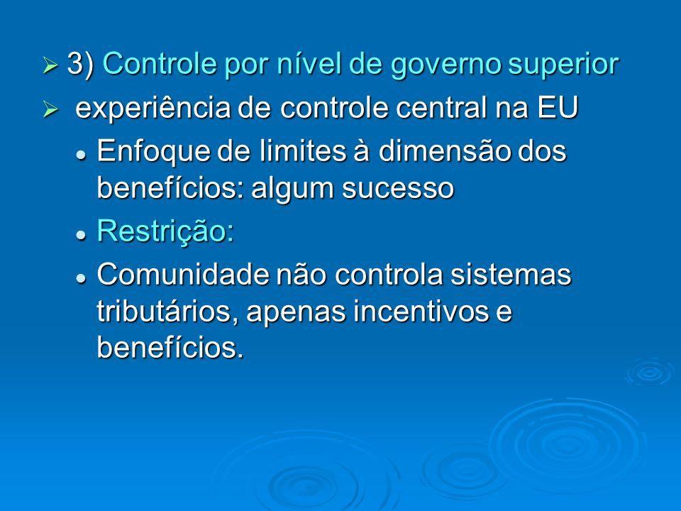 3) Controle por nível de governo superior 3) Controle por nível de governo superior experiência de controle central na EU experiência de controle cent