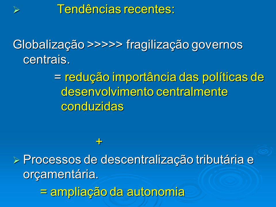 Tendências recentes: Tendências recentes: Globalização >>>>> fragilização governos centrais. = redução importância das políticas de desenvolvimento ce