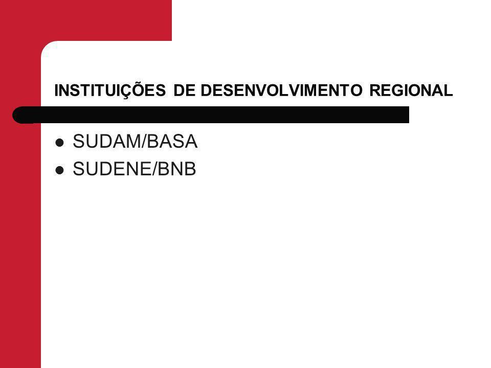 INSTITUIÇÕES DE DESENVOLVIMENTO REGIONAL SUDAM/BASA SUDENE/BNB