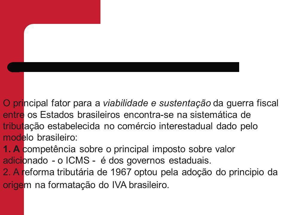 O principal fator para a viabilidade e sustentação da guerra fiscal entre os Estados brasileiros encontra-se na sistemática de tributação estabelecida no comércio interestadual dado pelo modelo brasileiro: 1.