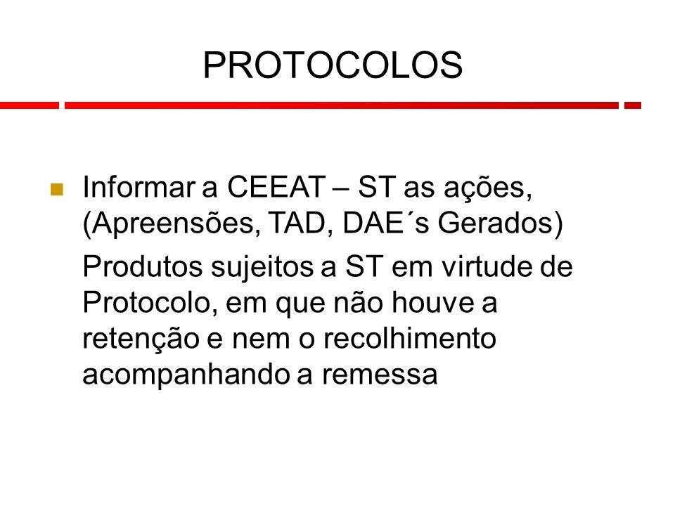112 Informar a CEEAT – ST as ações, (Apreensões, TAD, DAE´s Gerados) Produtos sujeitos a ST em virtude de Protocolo, em que não houve a retenção e nem o recolhimento acompanhando a remessa PROTOCOLOS