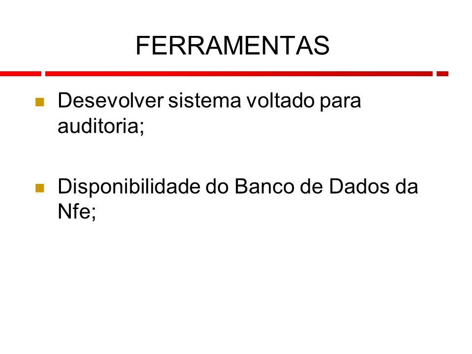 113 Desevolver sistema voltado para auditoria; Disponibilidade do Banco de Dados da Nfe; FERRAMENTAS