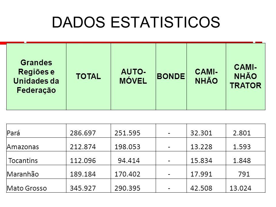 18 DADOS ESTATISTICOS Grandes Regiões e Unidades da Federação TOTAL AUTO- MÓVEL BONDE CAMI- NHÃO CAMI- NHÃO TRATOR Pará 286.697 251.595 - 32.301 2.801 Amazonas 212.874 198.053 - 13.228 1.593 Tocantins 112.096 94.414 - 15.834 1.848 Maranhão 189.184 170.402 - 17.991 791 Mato Grosso 345.927 290.395 - 42.508 13.024