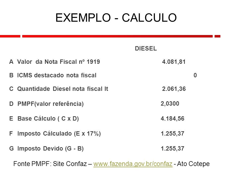 Fonte PMPF: Site Confaz – www.fazenda.gov.br/confaz - Ato Cotepewww.fazenda.gov.br/confaz 9 EXEMPLO - CALCULO DIESEL AValor da Nota Fiscal nº 1919 4.081,81 BICMS destacado nota fiscal0 CQuantidade Diesel nota fiscal lt 2.061,36 D PMPF(valor referência) 2,0300 E Base Cálculo ( C x D) 4.184,56 F Imposto Cálculado (E x 17%) 1.255,37 G Imposto Devido (G - B) 1.255,37
