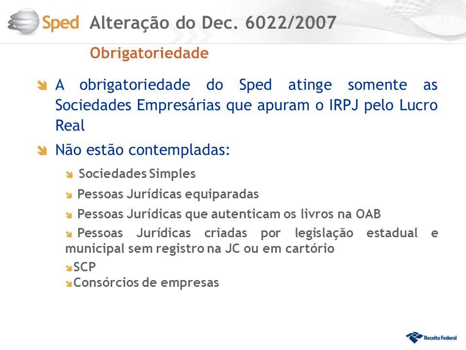 EFD PIS/Cofins – Obrigatoriedade: PJ no Lucro Real e sujeitas a acompanhamento econômico-tributário diferenciado AC 2010 (10.000 PJ) PA 1º/04/2011 - entrega até 07 de março de 2012 PJ no Lucro Real (180.000 PJ) PA 1º/07/11 - entrega até 07 de março 2012 PJ com Imposto de Renda com base no Lucro Presumido ou Arbitrado (1.400.000 PJ) PA 1º/01/12 - entrega até 07 de março de 2012 PJ Financeiras PA 1º/01/12 – A prorrogar para 2º semestre/12