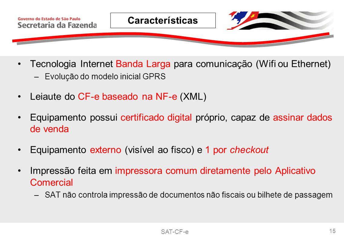 SAT-CF-e 15 Tecnologia Internet Banda Larga para comunicação (Wifi ou Ethernet) –Evolução do modelo inicial GPRS Leiaute do CF-e baseado na NF-e (XML) Equipamento possui certificado digital próprio, capaz de assinar dados de venda Equipamento externo (visível ao fisco) e 1 por checkout Impressão feita em impressora comum diretamente pelo Aplicativo Comercial –SAT não controla impressão de documentos não fiscais ou bilhete de passagem Características