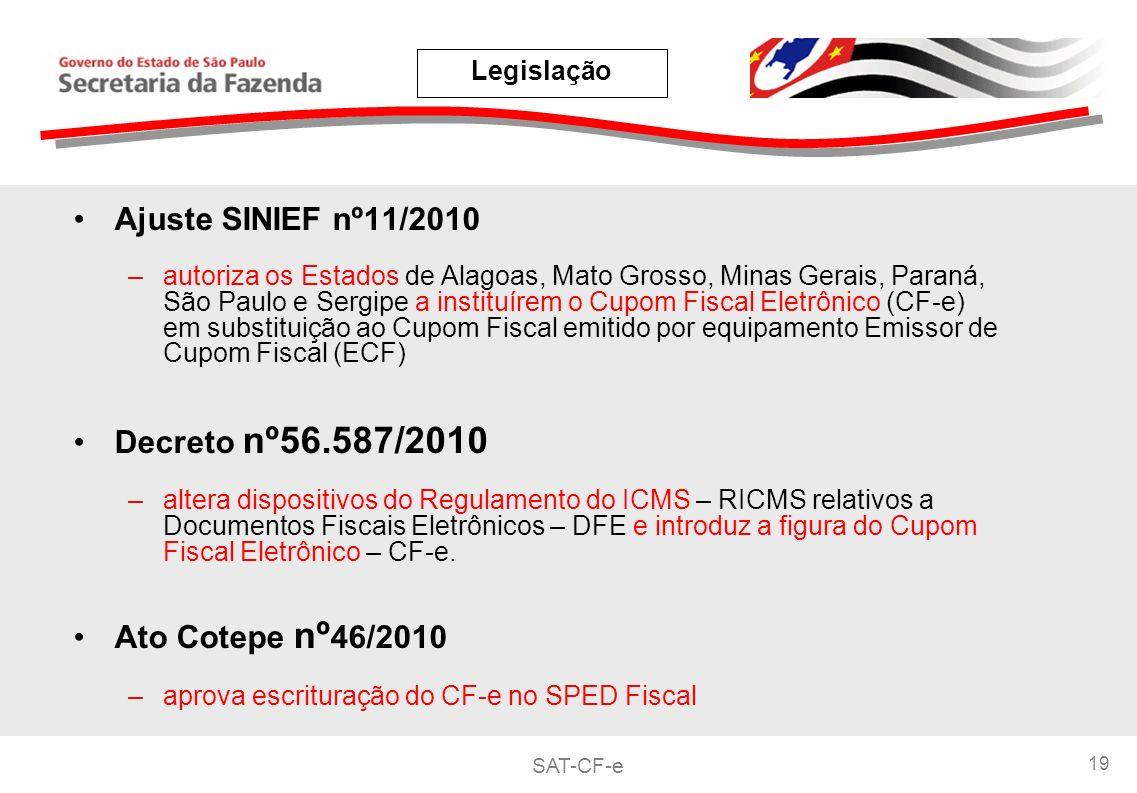 SAT-CF-e 19 Ajuste SINIEF nº11/2010 –autoriza os Estados de Alagoas, Mato Grosso, Minas Gerais, Paraná, São Paulo e Sergipe a instituírem o Cupom Fiscal Eletrônico (CF-e) em substituição ao Cupom Fiscal emitido por equipamento Emissor de Cupom Fiscal (ECF) Decreto nº56.587/2010 –altera dispositivos do Regulamento do ICMS – RICMS relativos a Documentos Fiscais Eletrônicos – DFE e introduz a figura do Cupom Fiscal Eletrônico – CF-e.