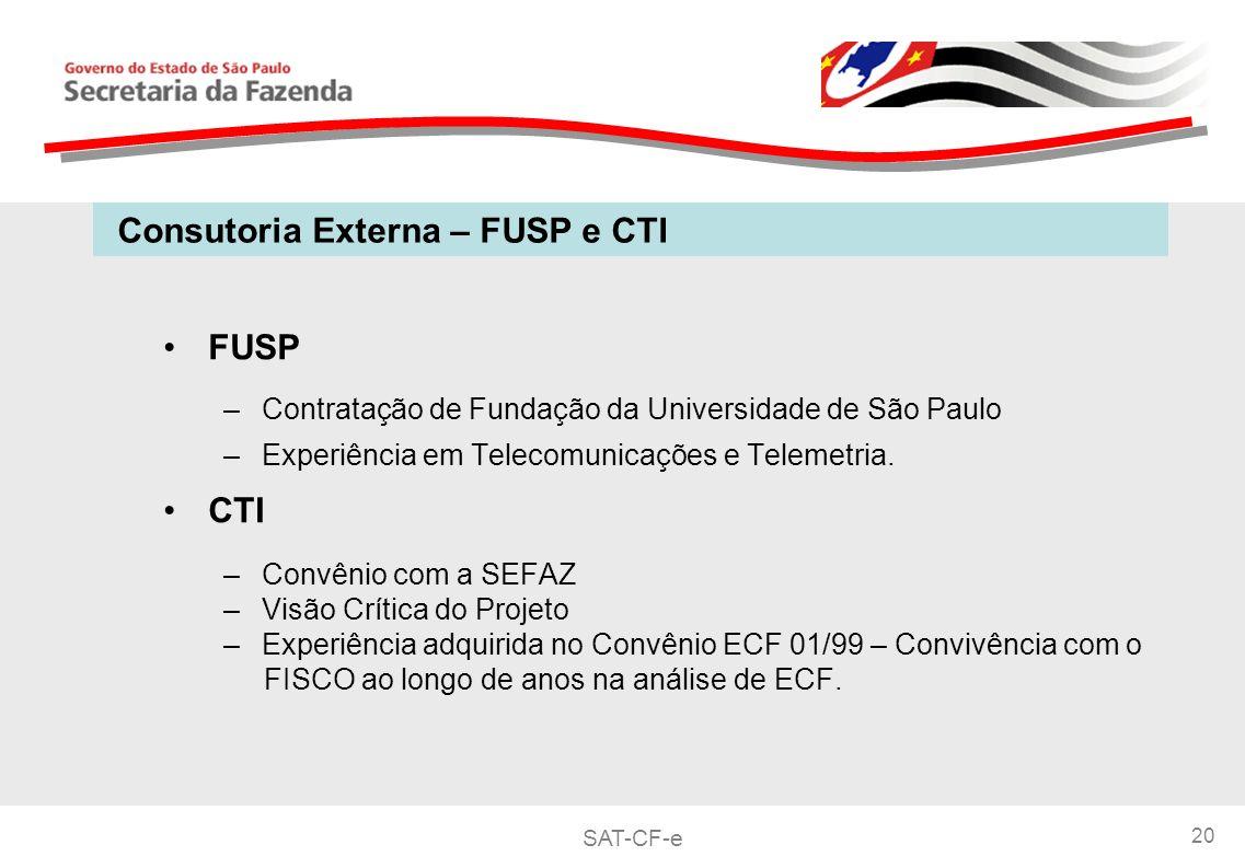 SAT-CF-e 20 FUSP –Contratação de Fundação da Universidade de São Paulo –Experiência em Telecomunicações e Telemetria.