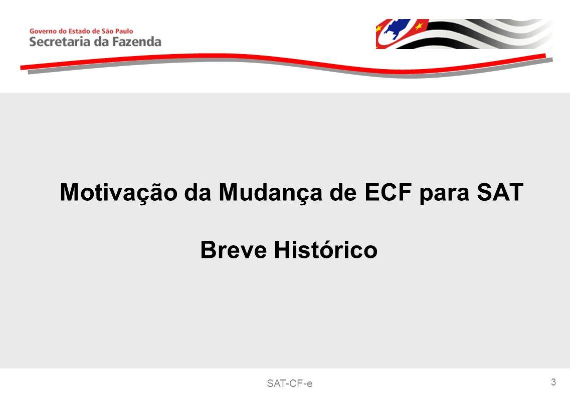 SAT-CF-e 3 Motivação da Mudança de ECF para SAT Breve Histórico