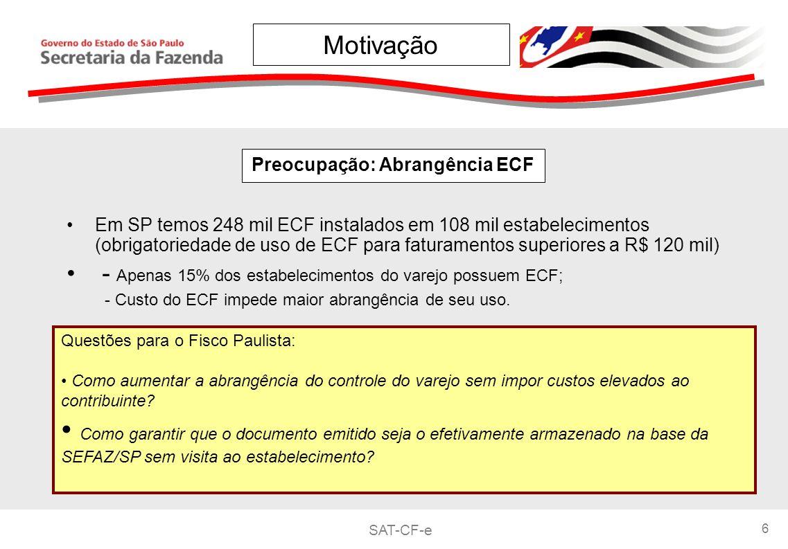 SAT-CF-e 6 Preocupação: Abrangência ECF Questões para o Fisco Paulista: Como aumentar a abrangência do controle do varejo sem impor custos elevados ao contribuinte.