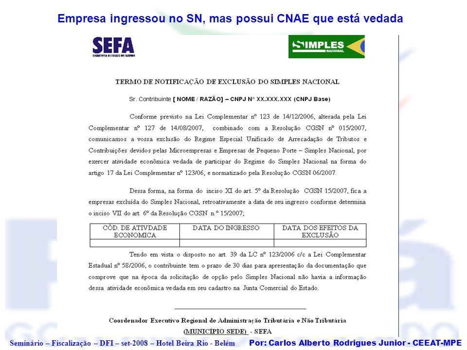 Por: Carlos Alberto Rodrigues Junior - CEEAT-MPE Seminário – Fiscalização – DFI – set-2008 – Hotel Beira Rio - Belém Empresa ingressou no SN, mas poss