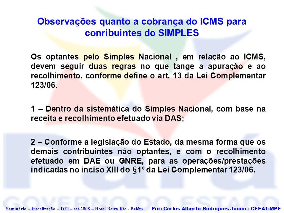 Por: Carlos Alberto Rodrigues Junior - CEEAT-MPE Seminário – Fiscalização – DFI – set-2008 – Hotel Beira Rio - Belém Observações quanto a cobrança do