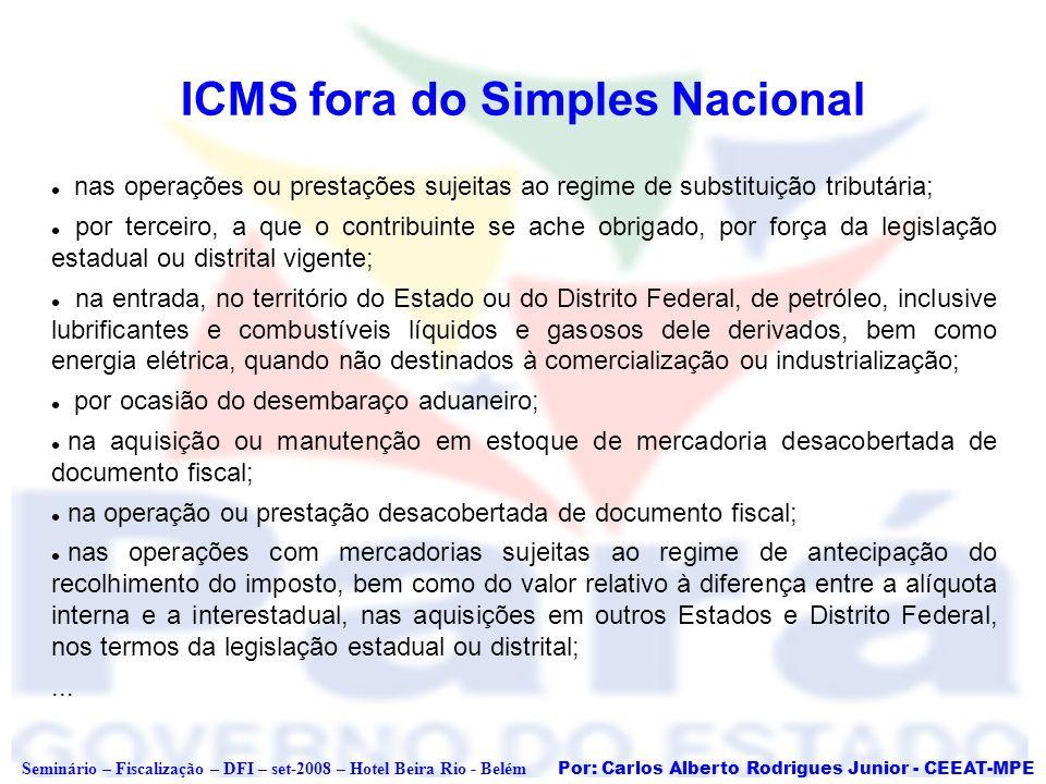 Por: Carlos Alberto Rodrigues Junior - CEEAT-MPE Seminário – Fiscalização – DFI – set-2008 – Hotel Beira Rio - Belém ICMS fora do Simples Nacional nas