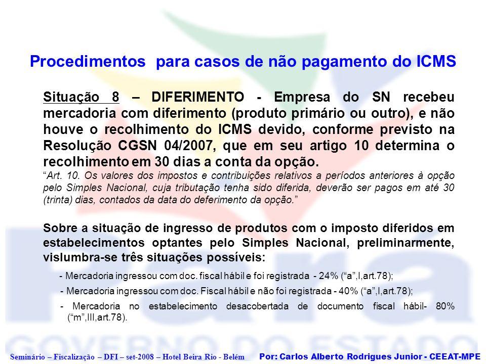 Por: Carlos Alberto Rodrigues Junior - CEEAT-MPE Seminário – Fiscalização – DFI – set-2008 – Hotel Beira Rio - Belém Procedimentos para casos de não p