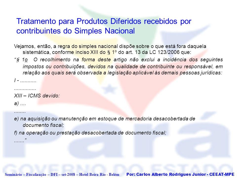 Por: Carlos Alberto Rodrigues Junior - CEEAT-MPE Seminário – Fiscalização – DFI – set-2008 – Hotel Beira Rio - Belém Tratamento para Produtos Diferido