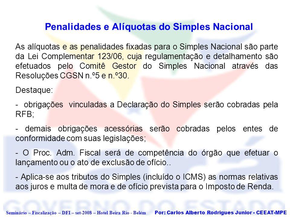 Por: Carlos Alberto Rodrigues Junior - CEEAT-MPE Seminário – Fiscalização – DFI – set-2008 – Hotel Beira Rio - Belém Penalidades e Alíquotas do Simple