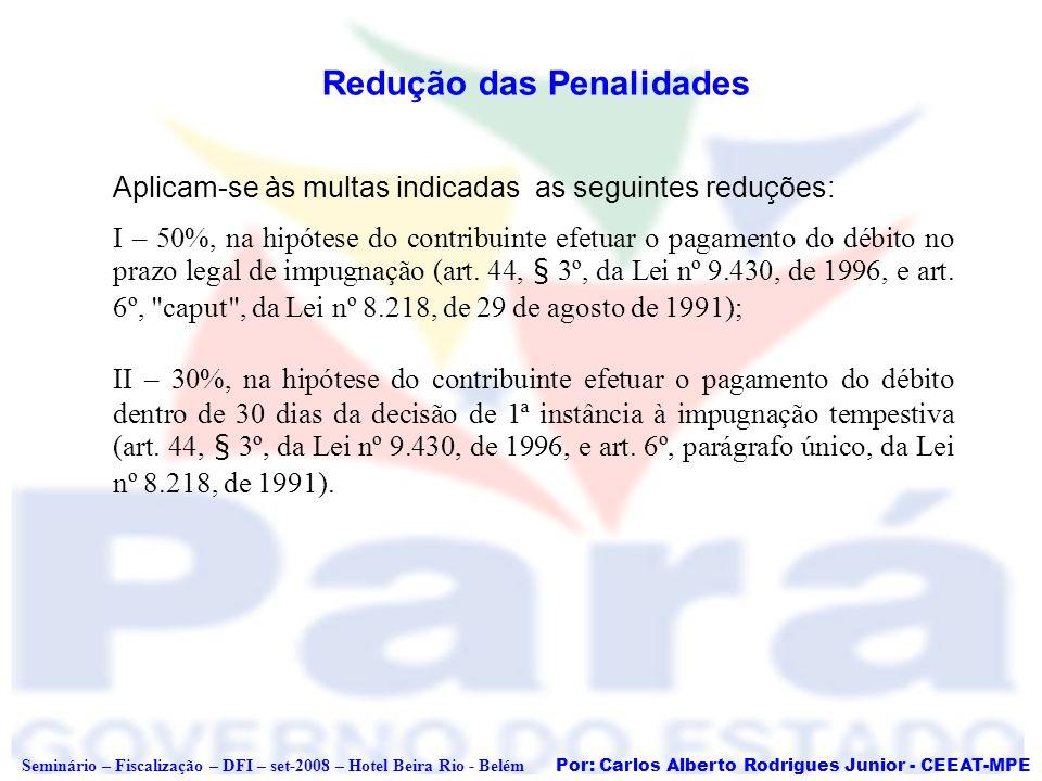 Por: Carlos Alberto Rodrigues Junior - CEEAT-MPE Seminário – Fiscalização – DFI – set-2008 – Hotel Beira Rio - Belém Redução das Penalidades Aplicam-s