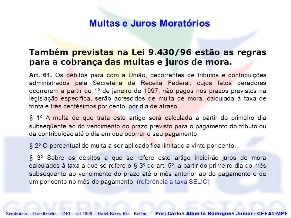 Por: Carlos Alberto Rodrigues Junior - CEEAT-MPE Seminário – Fiscalização – DFI – set-2008 – Hotel Beira Rio - Belém Multas e Juros Moratórios Também