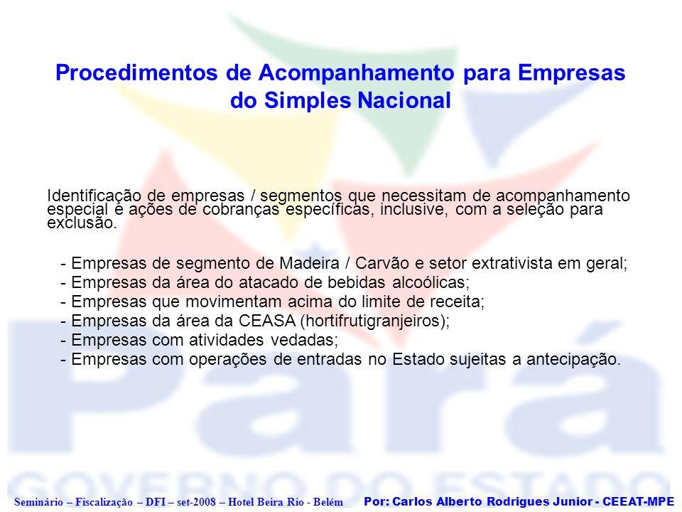 Por: Carlos Alberto Rodrigues Junior - CEEAT-MPE Seminário – Fiscalização – DFI – set-2008 – Hotel Beira Rio - Belém Procedimentos de Acompanhamento p