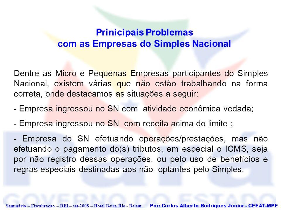 Por: Carlos Alberto Rodrigues Junior - CEEAT-MPE Seminário – Fiscalização – DFI – set-2008 – Hotel Beira Rio - Belém Empresa ingressou no SN, mas possui CNAE que está vedada