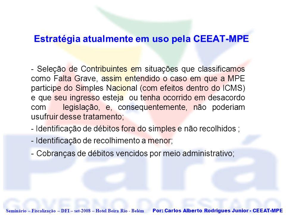 Por: Carlos Alberto Rodrigues Junior - CEEAT-MPE Seminário – Fiscalização – DFI – set-2008 – Hotel Beira Rio - Belém Procedimentos para MPE em Situações Graves Situação 1 - Empresa ingressou no SN, mas estava acima do limite de receita R$ 2,4 milhões (A LC 123/06 estabelece que a Receita Bruta do ano anterior a participação é o fator determinante); a) Levantamento de registro de operações em DIEFs – atenção para o CFOP, PGDAS, Sintegra e Fronteira; (*) Preferencialmente é feito o uso de DIEF, PGDAS e SINTEGRA PRÓPRIO, visto que levantamentos por FRONTEIRA e SINTEGRA Referenciado necessitam de auditoria; b) Notificação da Empresa da Exclusão do SN (termo próprio) com espera do prazo legal de impugnação e registro do SISTEMA SERPRO/RFB; c) Abertura de OS para cobrança dos valores devido pela empresa de conformidade com a legislação estadual do período em que apurou o ICMS pelo Simples.