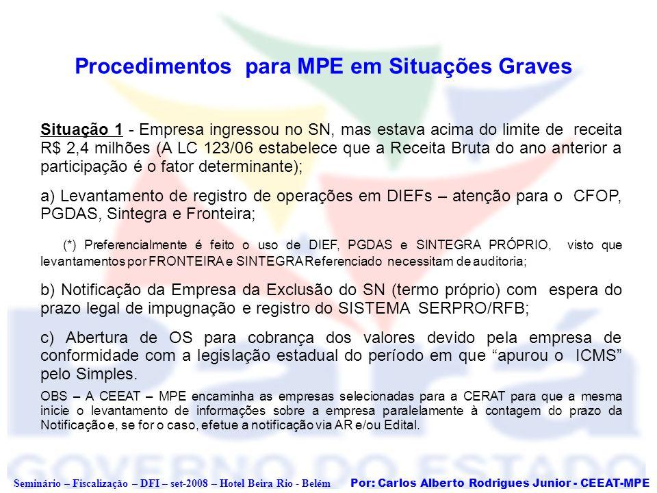 Por: Carlos Alberto Rodrigues Junior - CEEAT-MPE Seminário – Fiscalização – DFI – set-2008 – Hotel Beira Rio - Belém Modelo de Termo de Exclusão