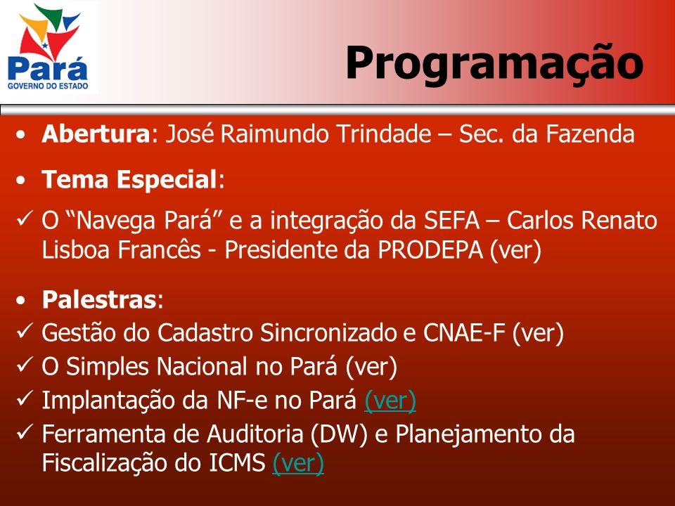 Programação Abertura: José Raimundo Trindade – Sec.