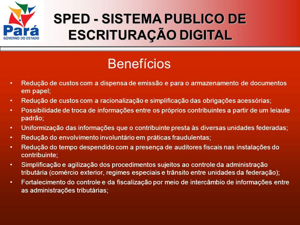SPED - SISTEMA PUBLICO DE ESCRITURAÇÃO DIGITAL Redução de custos com a dispensa de emissão e para o armazenamento de documentos em papel; Redução de c