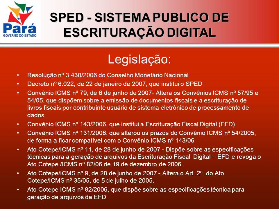 SPED - SISTEMA PUBLICO DE ESCRITURAÇÃO DIGITAL Resolução nº 3.430/2006 do Conselho Monetário Nacional Decreto nº 6.022, de 22 de janeiro de 2007, que