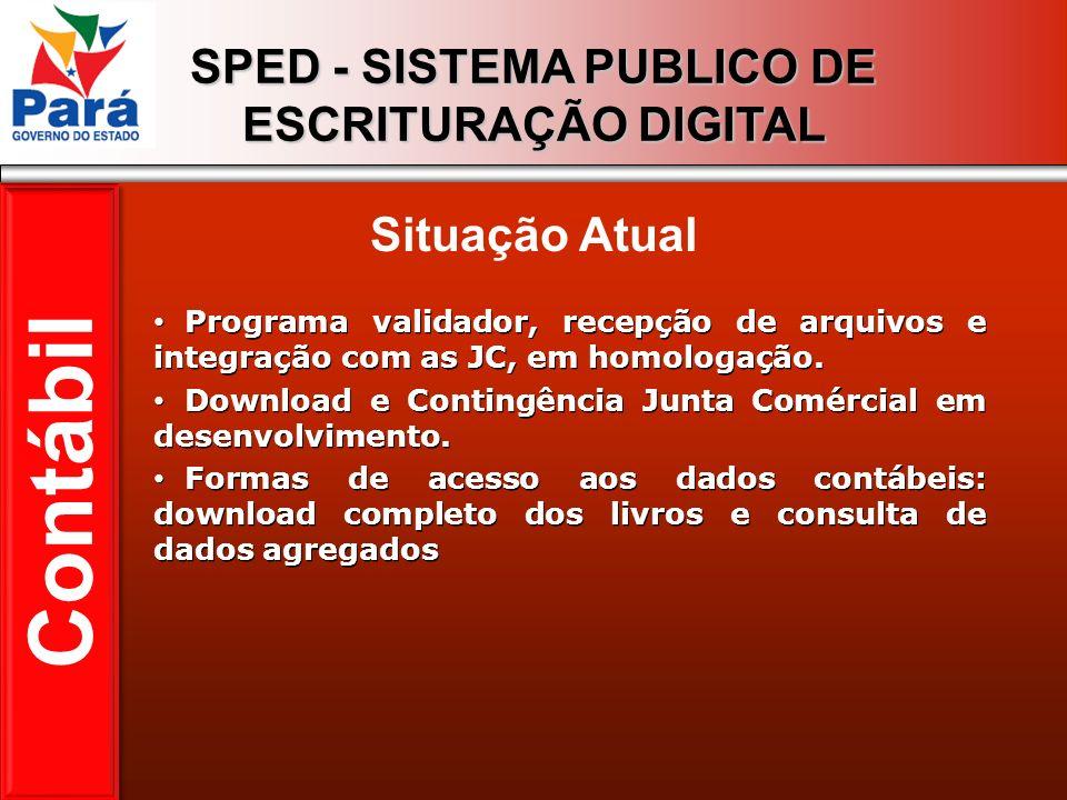 SPED - SISTEMA PUBLICO DE ESCRITURAÇÃO DIGITAL Programa validador, recepção de arquivos e integração com as JC, em homologação. Download e Contingênci