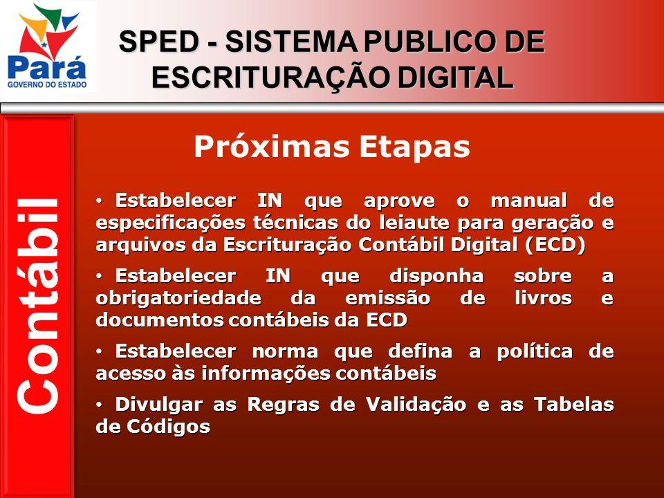 SPED - SISTEMA PUBLICO DE ESCRITURAÇÃO DIGITAL Estabelecer IN que aprove o manual de especificações técnicas do leiaute para geração e arquivos da Esc