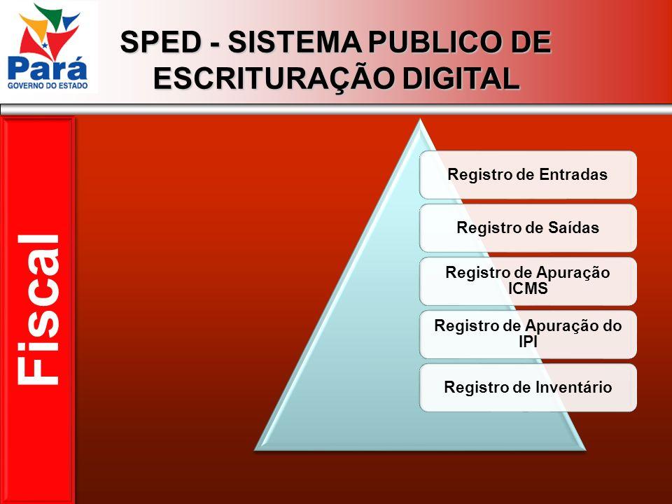 SPED - SISTEMA PUBLICO DE ESCRITURAÇÃO DIGITAL Registro de EntradasRegistro de Saídas Registro de Apuração ICMS Registro de Apuração do IPI Registro d