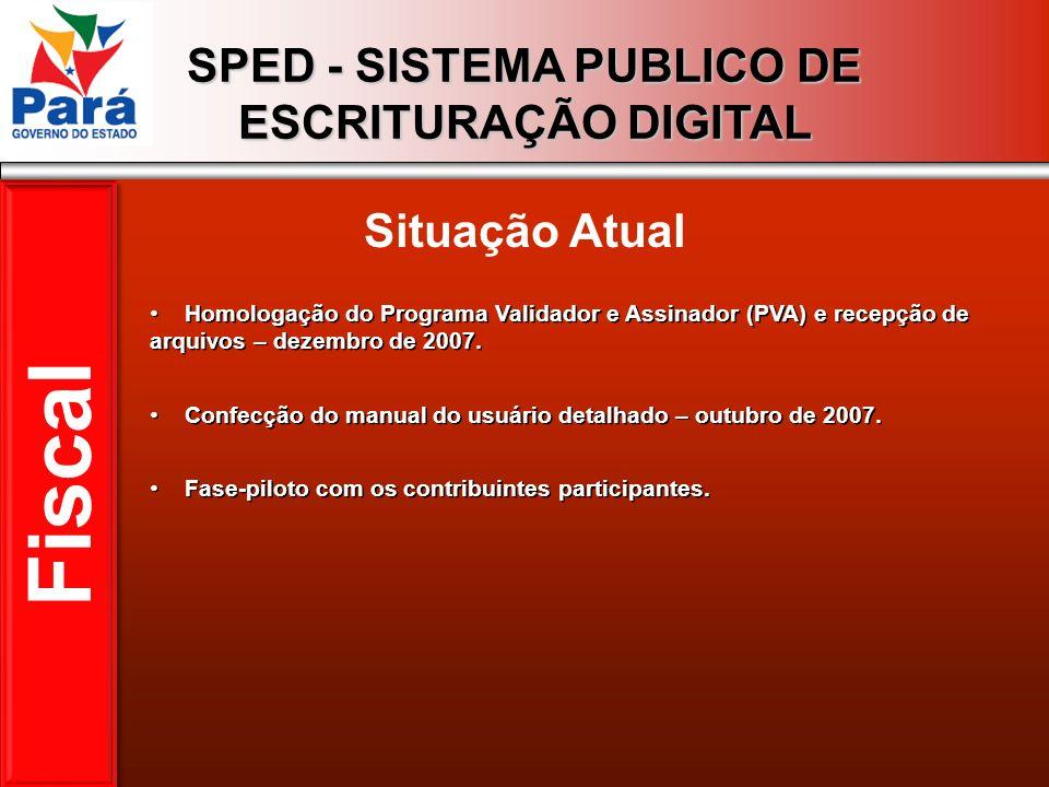 SPED - SISTEMA PUBLICO DE ESCRITURAÇÃO DIGITAL Situação Atual Fiscal Homologação do Programa Validador e Assinador (PVA) e recepção de arquivos – deze