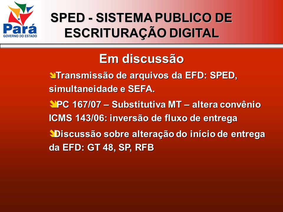SPED - SISTEMA PUBLICO DE ESCRITURAÇÃO DIGITAL Em discussão Transmissão de arquivos da EFD: SPED, simultaneidade e SEFA. PC 167/07 – Substitutiva MT –