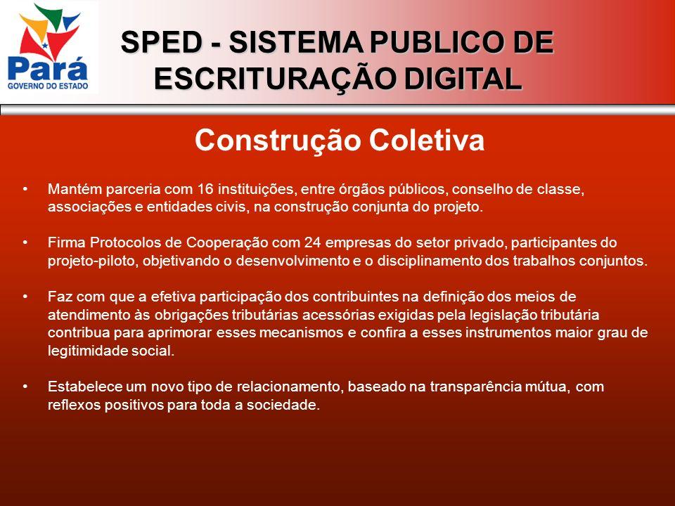 SPED - SISTEMA PUBLICO DE ESCRITURAÇÃO DIGITAL Construção Coletiva Mantém parceria com 16 instituições, entre órgãos públicos, conselho de classe, ass