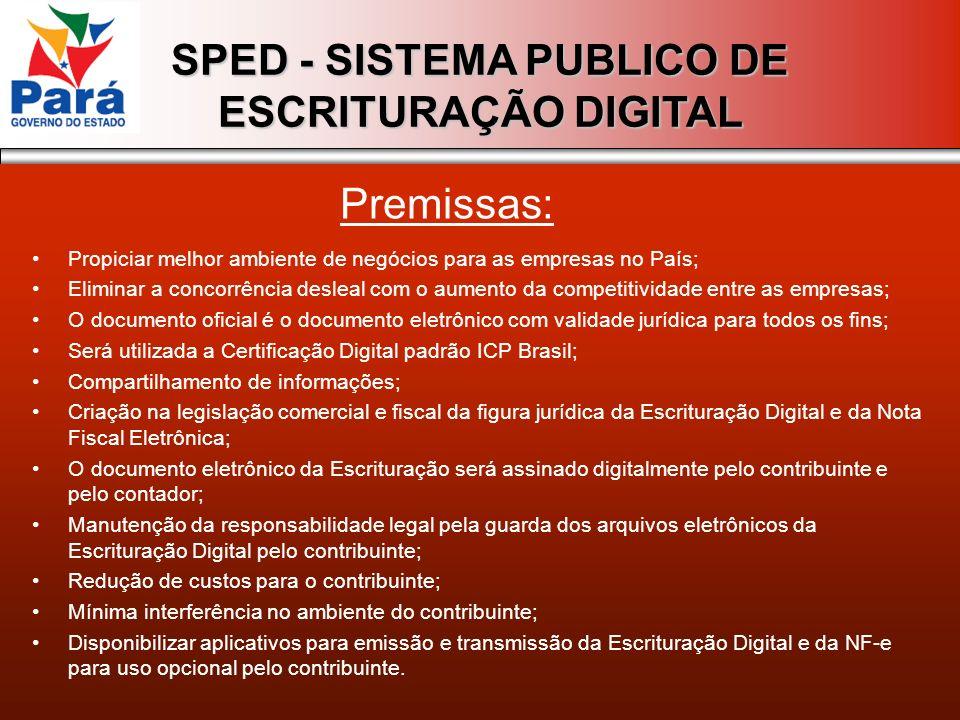 SPED - SISTEMA PUBLICO DE ESCRITURAÇÃO DIGITAL Propiciar melhor ambiente de negócios para as empresas no País; Eliminar a concorrência desleal com o a