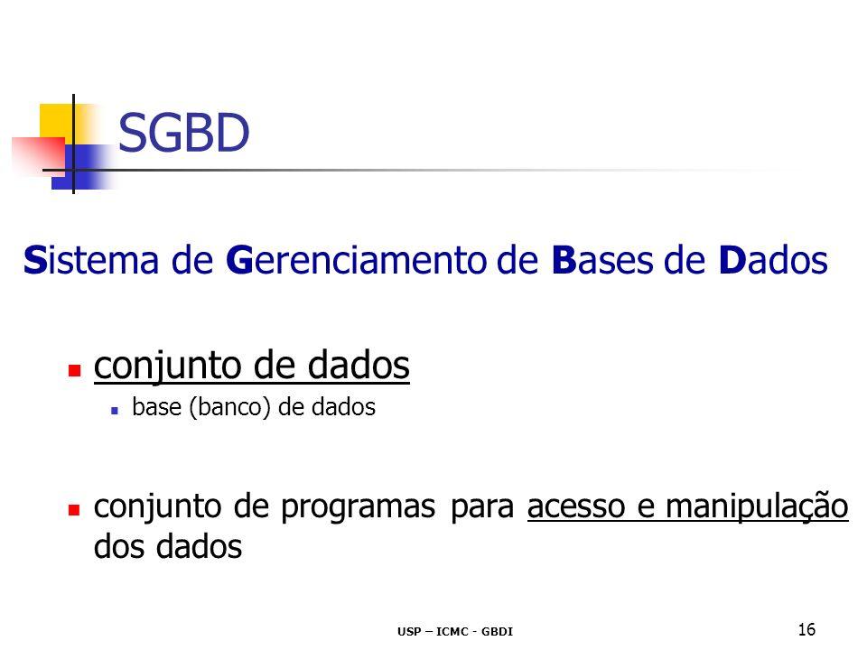 USP – ICMC - GBDI 16 SGBD Sistema de Gerenciamento de Bases de Dados conjunto de dados base (banco) de dados conjunto de programas para acesso e manip