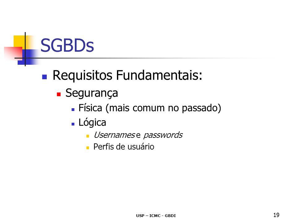 USP – ICMC - GBDI 20 SGBDs Requisitos Fundamentais (cont) : Integridade consistência validade Restrições de Integridade!!.