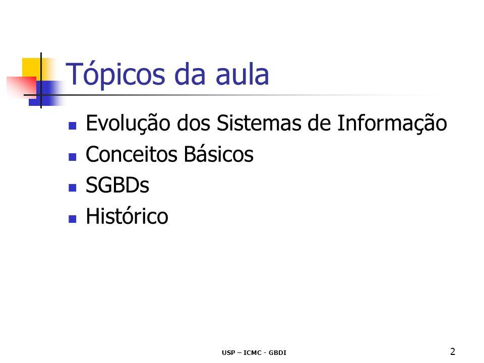 USP – ICMC - GBDI 3 Evolução dos Sistemas de Informação Sistemas de Informação baseados em gerenciamento de arquivos programas e arquivos orientados a cada unidade organizacional rotinas específicas para tarefas específicas dados armazenados em disco, usando uma determinada estrutura de dados