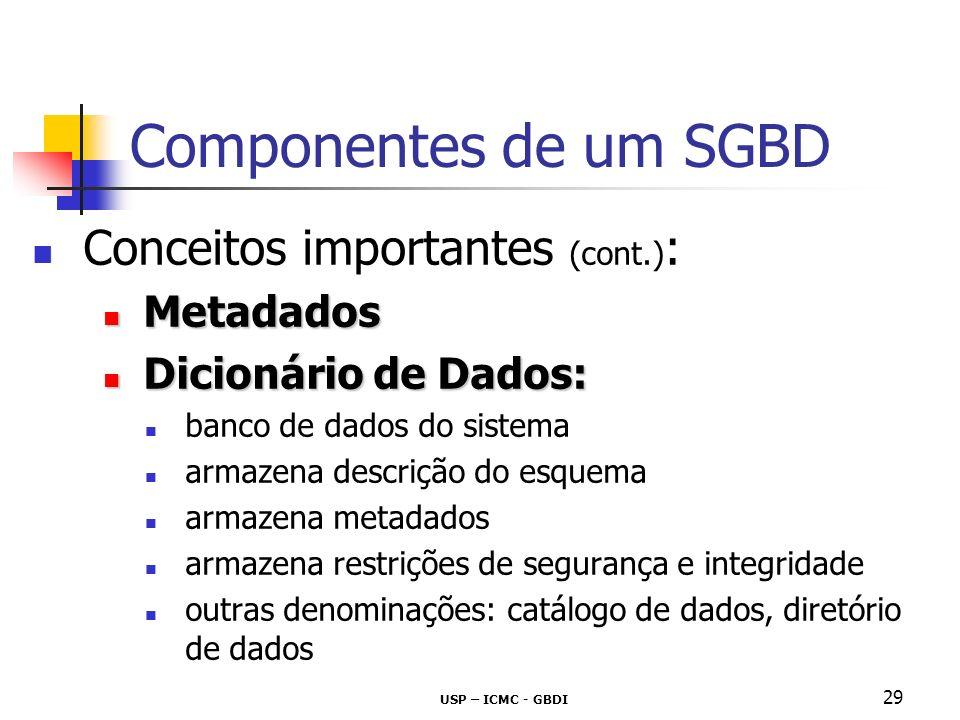 USP – ICMC - GBDI 30 Componentes de um SGBD Conceitos importantes (cont.) : SQL - Data Manipulation Language SQL - Data Manipulation Language (DML) recuperação (consulta) inserção remoção modificação DML viabiliza manipulação dos dados de maneira compatível com o modelo de dados