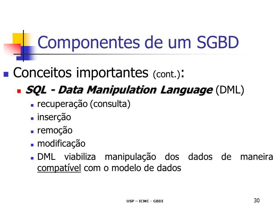 USP – ICMC - GBDI 31 Componentes de um SGBD Conceitos importantes (cont.) : Data Manipulation Language Data Manipulation Language (DML) Exemplos em linguagem SQL insert select delete update...